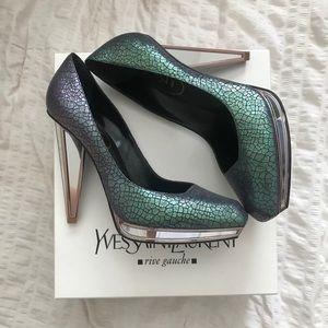 Saint Laurent Mirrored & Python Heels